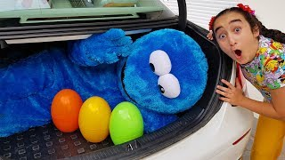 Kids pretend play with colorful easter eggs, fun video