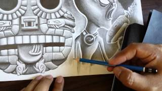 How to draw Aztec style stone head.
