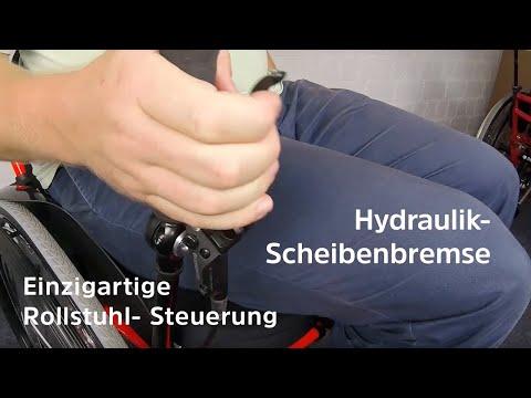 Rollstuhl fahren verbessern - (Scheibenbremsen, Teleskophebel, klappbare Fußbretter, Schiebegriffe)