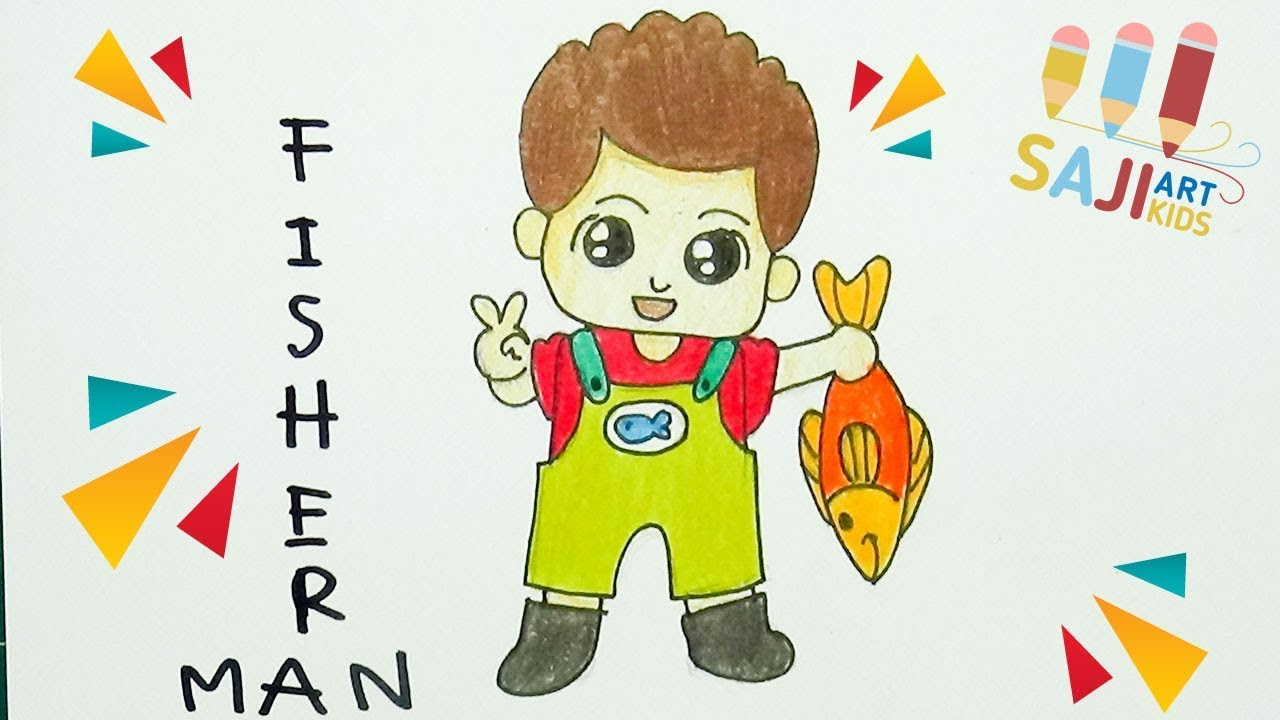 วาดร ปคนตกปลา วาดร ประบายส ไม สวยๆ How To Draw A Fisherman Step By Step การ ต น