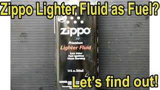 Zippo Lighter Fluid as Fuel in a Gasoline Engine? Let's see what happens!
