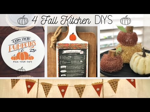🍁 4 Fall Kitchen DIYS 🍁  |  Fall Farmhouse Inspiration  |  Dollar Tree DIY
