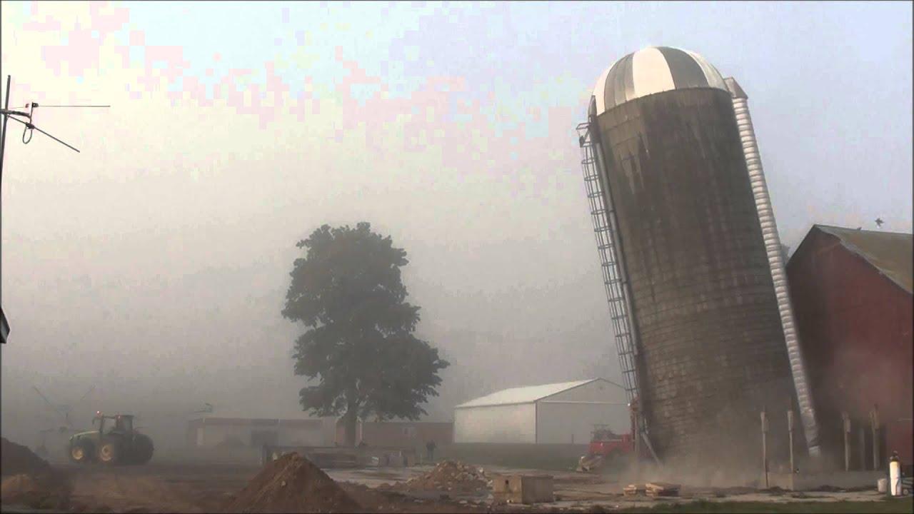 3 Silo Demolition : Silo demolition at snider farms youtube