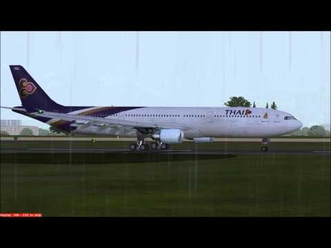 Thai Airbus A330 landing at Kathmandu