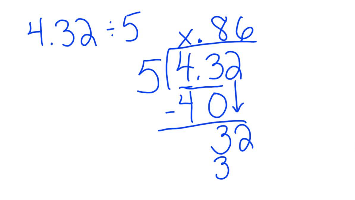 dividing decimal by whole number using algorithm with a remainder