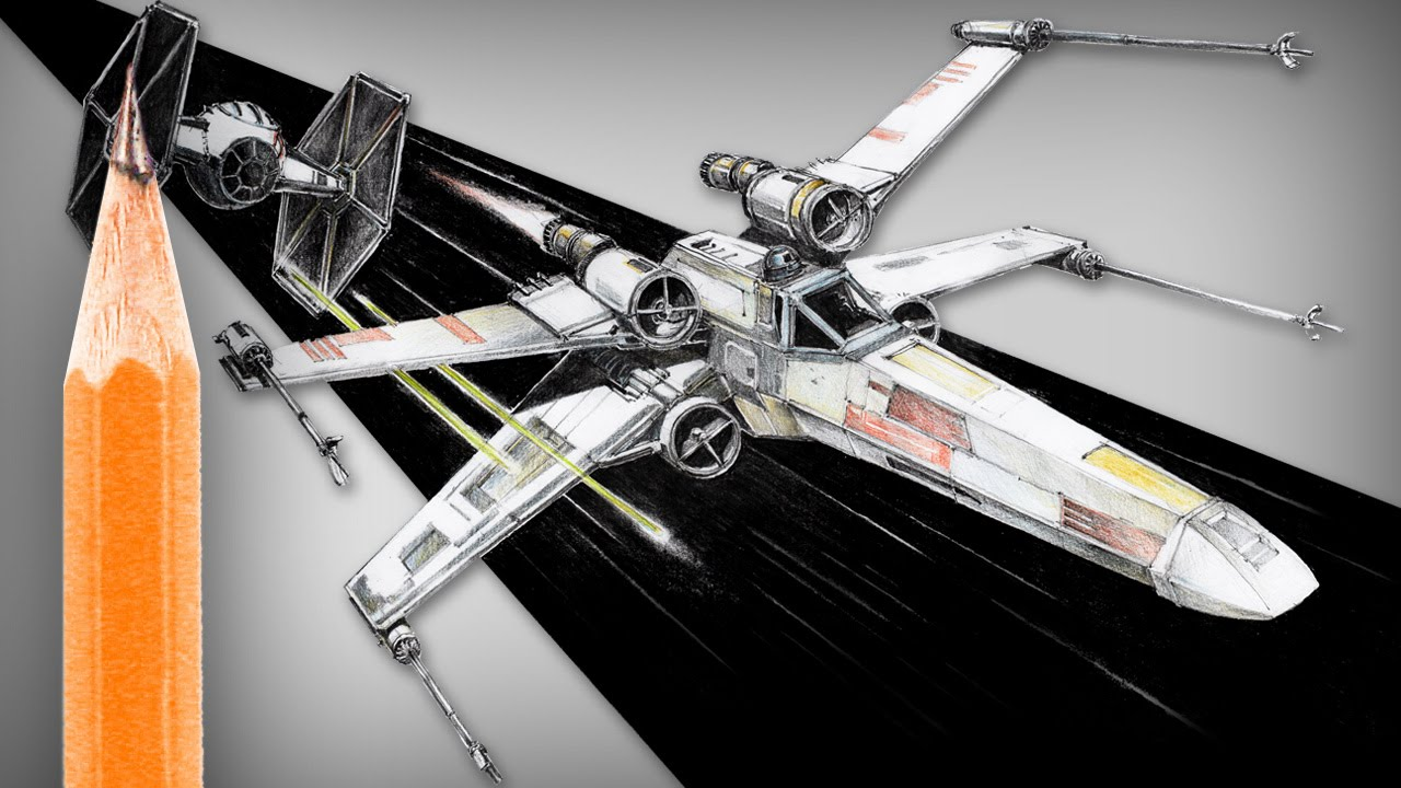 How To Draw Star Wars X Wing And Tie Fighter Youtube