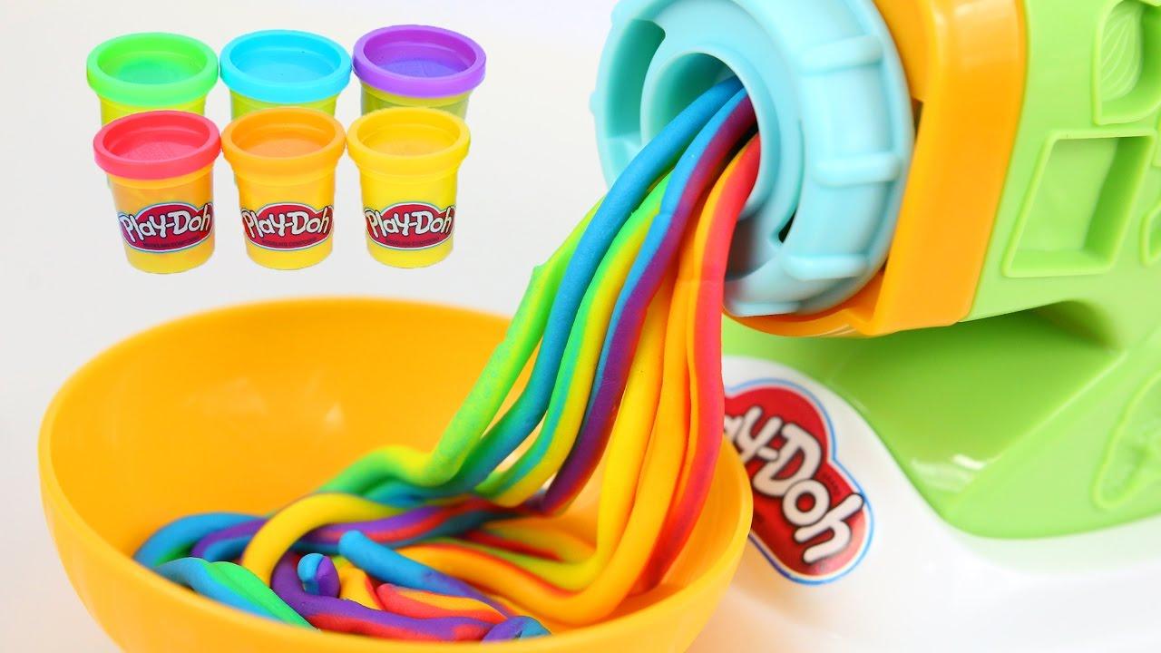 DIY Play Doh Rainbow Spaghetti Maker Modelling Clay Play Doh Mighty Toys - YouTube