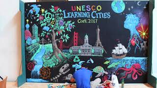 After Skool Live Chalk Mural at Learning Cities Convention 2017, Cork, Ireland
