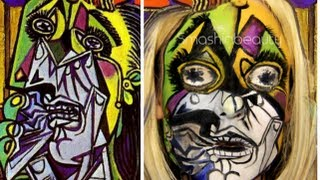 Pablo Picasso The Weeping Woman Halloween Makeup Tutorial 2015