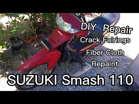 Suzuki Smash110 DIY Crack Fairings Repair Fibercloth and Repaint