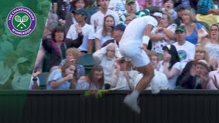 Rafa Nadal ends up in crowd in desperate race to the ball | Wimbledon 2018