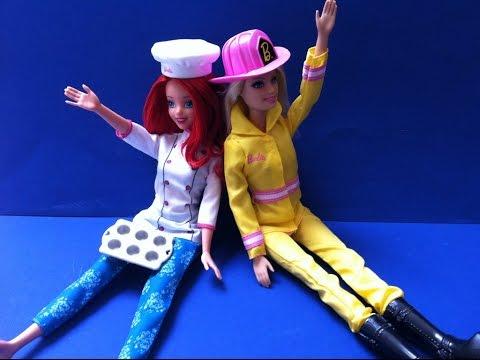Búp Bê Barbie Làm Lính Cứu Hoả & Nàng Tiên Cá Ariel Làm thợ Nấu - Firefighter Barbie Chef Ariel