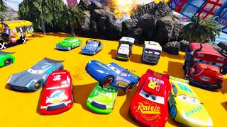 Disney Cars 3 Fabulous McQueen Stunt Jump Colors Jackson Storm Superheroes Miss Fritter Mater Dinoco
