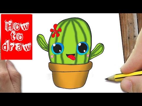 how to draw cactus kawaii hoe teken je cactus youtube. Black Bedroom Furniture Sets. Home Design Ideas