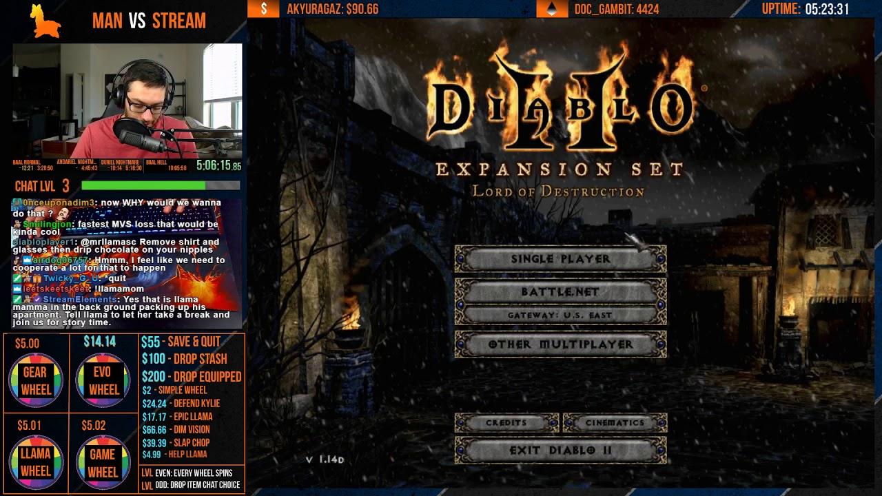 Diablo 2 - MAN VS STREAM Season 5 - Hell Sorceress Edition!! Part 2