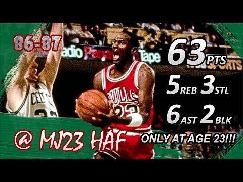 Michael Jordan Playoffs Career High Highlights 1986 ECR1 G2 Vs Celtics - 63pts! (720p 60fps)