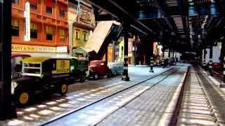 MTA NYC Transit EL & SUBWAY - O-Scale EL Train above leaves EL station--MVI 0917