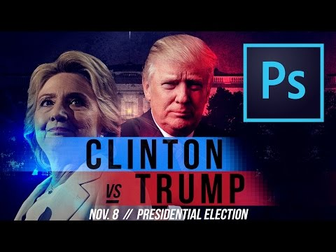 Hillary vs. Trump UFC/Boxing Style Poster in Photoshop CC