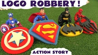 spiderman batman superman and avengers captain america logo robbery thomas friends play doh story