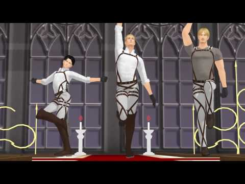 SnK MMD Step Erwin, Levi, Mike