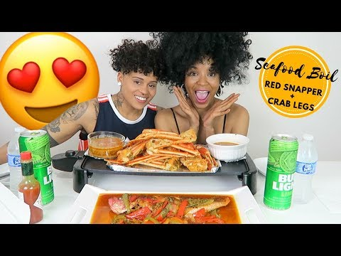 SEAFOOD BOIL MUKBANG WITH CRAB LEGS AND RED SNAPPER