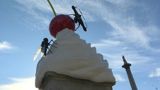 Dystopian whipped cream sculpture unveiled at Trafalgar Square | AFP