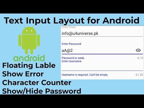 Android TextInputLayout - Floating Label, Show Error - Android Studio Tutorial | U4Universe