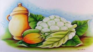 Pintando Pote de Cerâmica, Couve Flor e Jiló