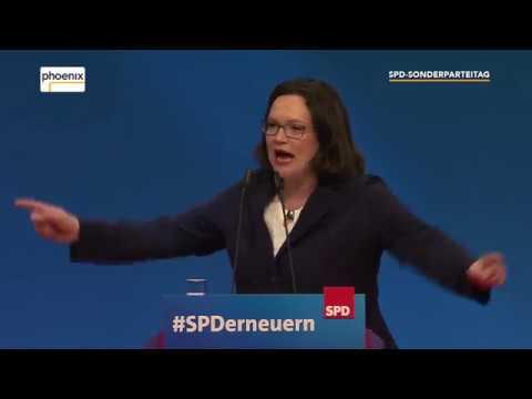 SPD-Parteitag: Vorstellungsrede von Andrea Nahles am 22.04.2018