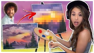 Pokimane tries following a Bob Ross Painting Tutorial!