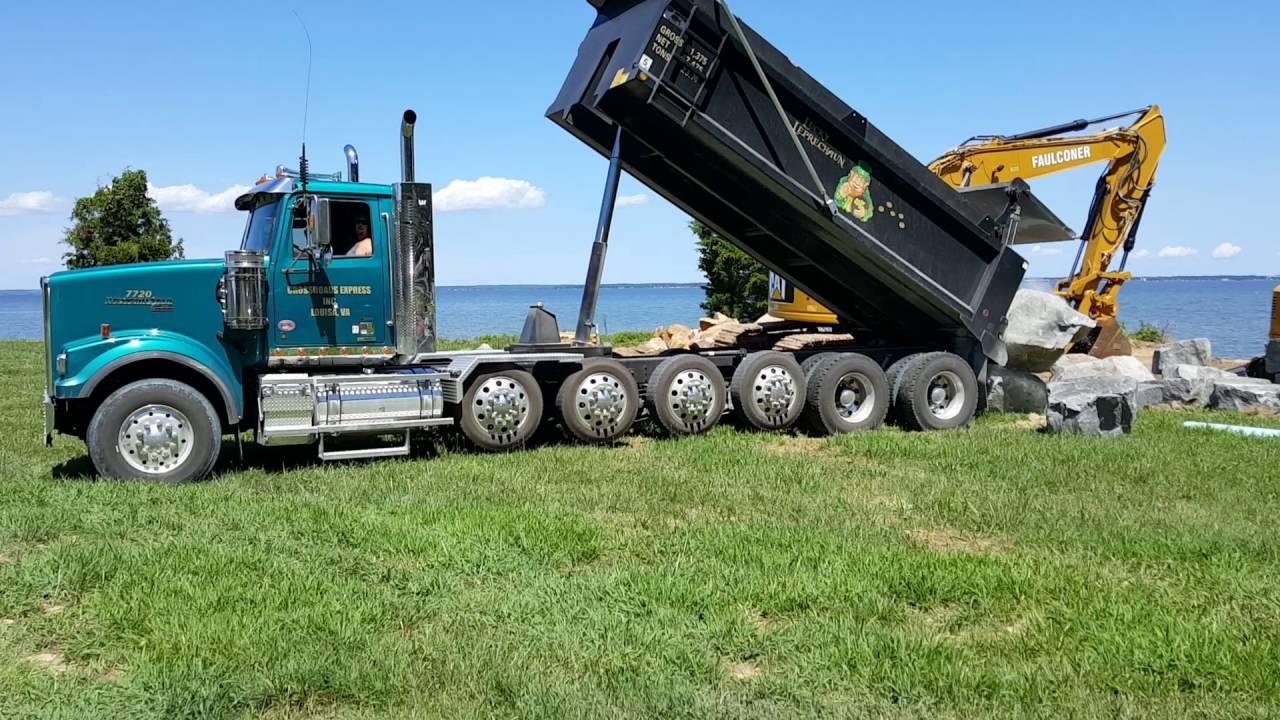 2016 Western Star 4900SF 7 Axle Dump Truck Dumping Huge Rocks