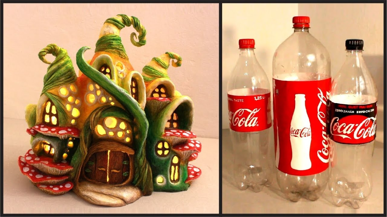 "Résultat de recherche d'images pour ""DIY Enchanted Fairy House Lamp Using Coke Plastic Bottles"""