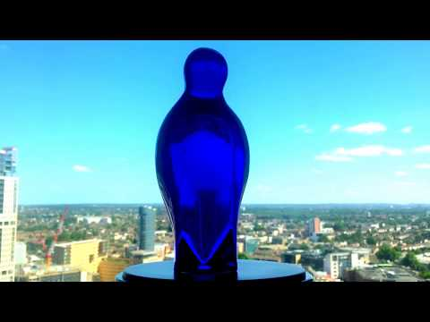 VERY RARE !!! Exbor Glass / Cobalt Blue & White Penguin - Vintage Glass Art