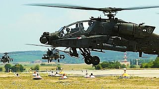 4th Combat Aviation Brigade AH-64 APACHE HELICOPTERS ARRIVE!  (Illesheim Army Air Base.)