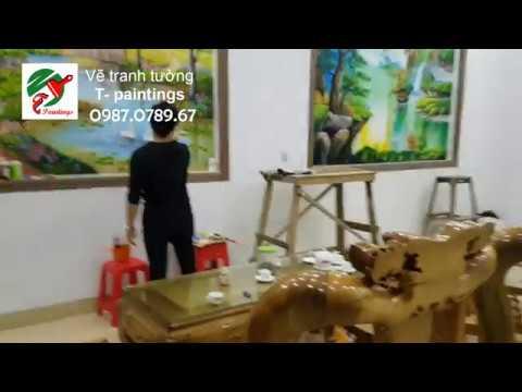 Vẽ tranh tường phòng khách đẹp ở Yên Bái