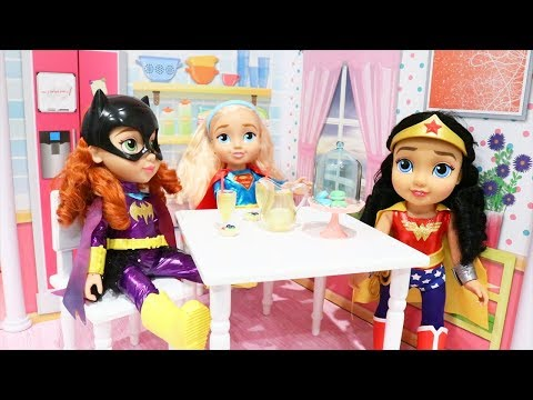 School Morning Routine ! Toys And Dolls Fun With DC Superhero Girls & American Girl Size Accessories