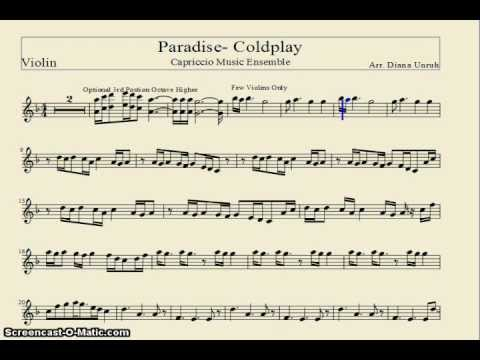 Paradise- Coldplay (Sheet Music) Violin