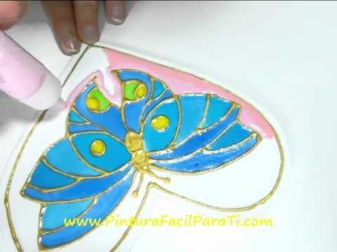 4 Corazon Mariposa San Valentin Falso Vitral 14 de Febrero Dia de los Enamorados Pintura Facil