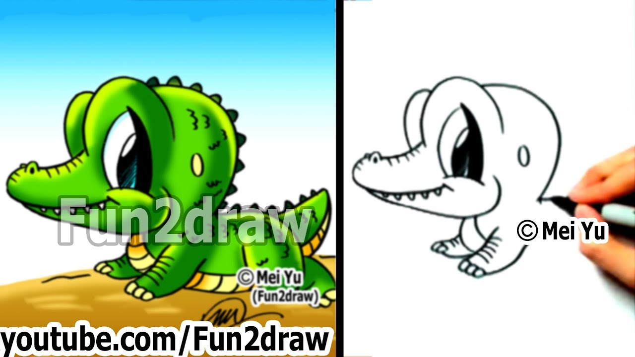 how to draw cartoon characters easy how to draw a alligator draw