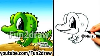 How To Draw Cartoon Characters Easy - How To Draw A Alligator - Draw Animals - Fun2draw