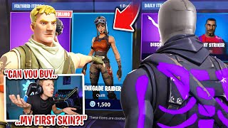 I asked strangers to BUY me my FIRST skin in Fortnite... (I got FREE SKINS!)