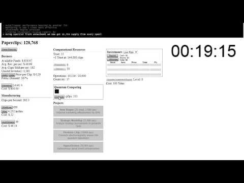 Universal Paperclips Speedrun - 1hr59min