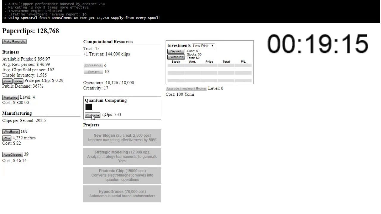 Universal Paperclips Speedrun - 1hr59min - YouTube