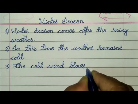 10 Lines Essay On Winter Season In English // Essay In Cursive Handwriting