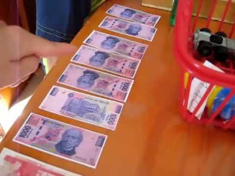 Preschool - Math. Learning with pretend money