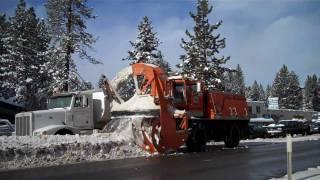 Caltrans Kodiak Blower loading out dump trucks in South Lake Tahoe
