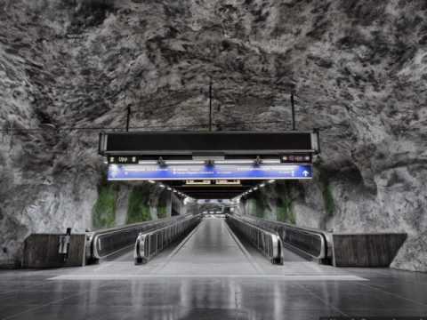 Fridhemsplan, Stockholm, Metro Station, Suburban Rail Station, pedestrian tunnel