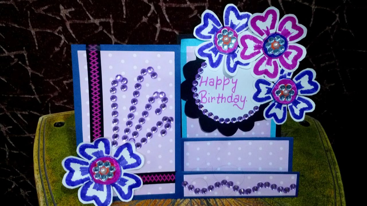 How To Make The Best Birthday Card Ever Part - 28: How To Make Birthday Card\ (side Stair)\anniversary Card \simple And Easy Greeting  Card