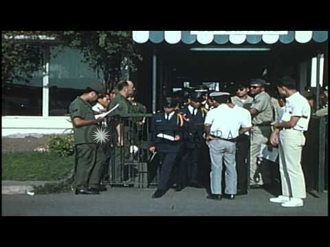 Checking of VNAF helicopter pilots at  Ton Son Nhut Airport, Saigon, South Vietna...HD Stock Footage