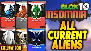 [EXCLUSIVE CODE] ALL ALIENS SHOWCASE | ROBLOX BLOX-TEN INSOMNIA | Ben 10 in Roblox | iBeMaine